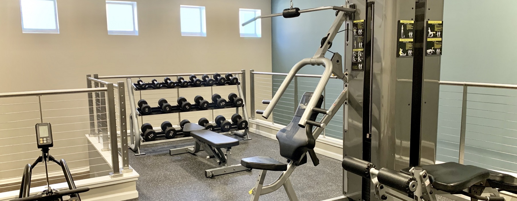 Gym with weights and fitness equipment