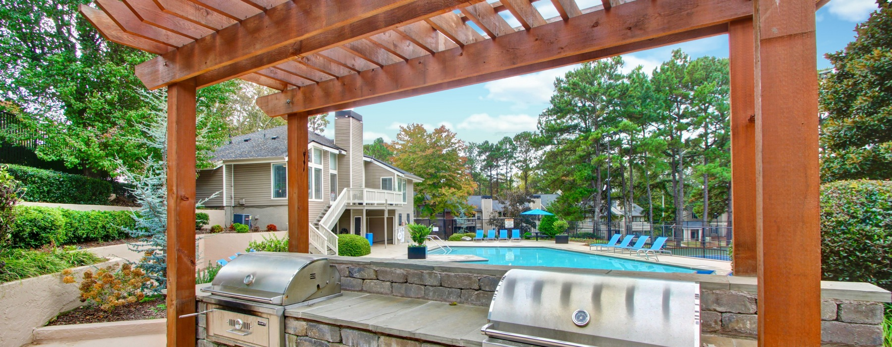 Pergola and grills by the pool