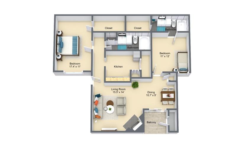 Ascona 2 Bed 2 Bath Floorplan