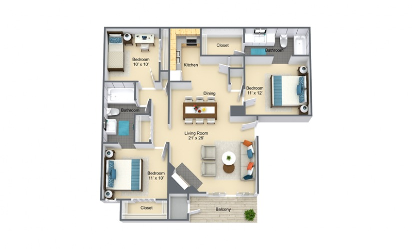 Campione 3 Bed 2 Bath Floorplan
