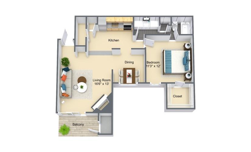Como Grande  1 Bed 1 Bath Floorplan