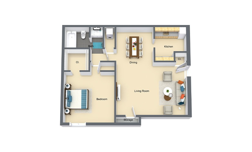 Cypress 1 Bed 1 Bath 649 SF