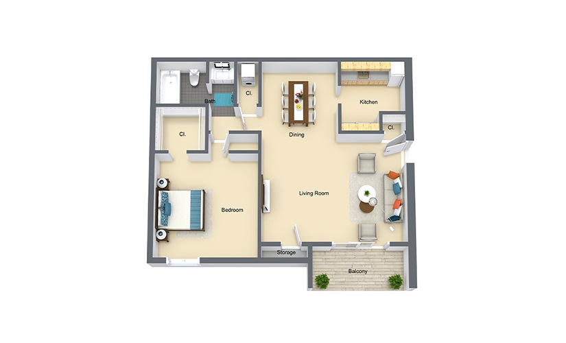 Cypress Upper 1 Bed 1 Bath 649 SF