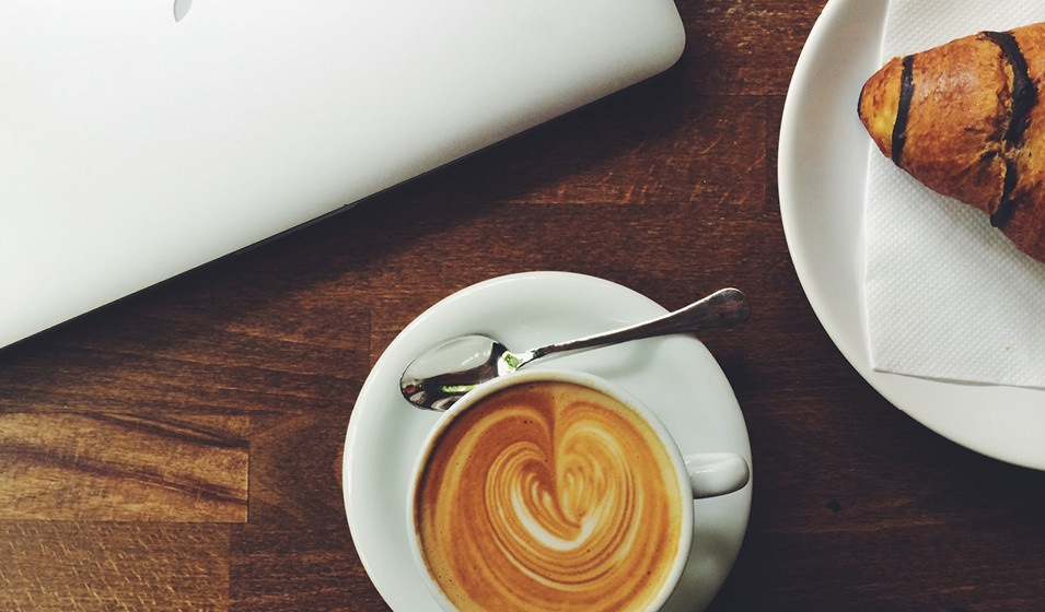 Lifestyle Image Of Coffee and Desert