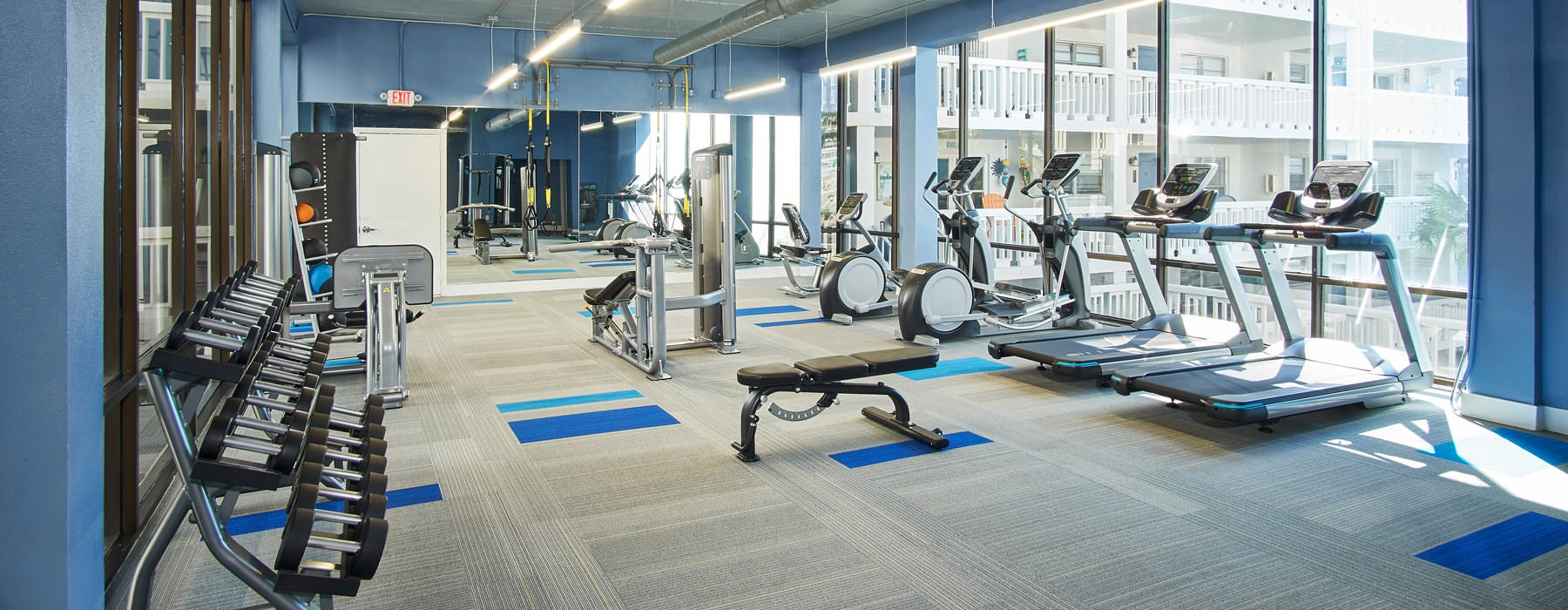 spacious, brightly lit fitness center