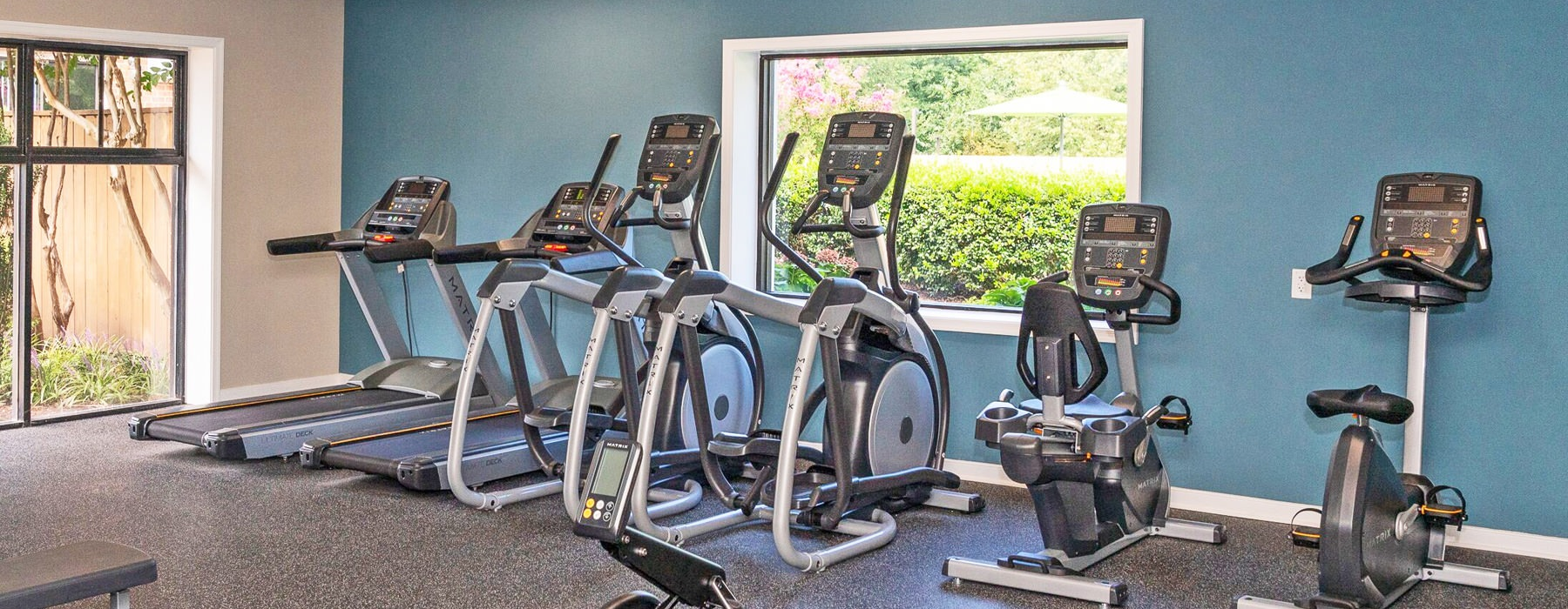 Fitness Center features two large windows
