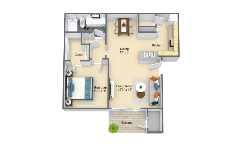 Lugano 1 Bed 1 Bath Floorplan