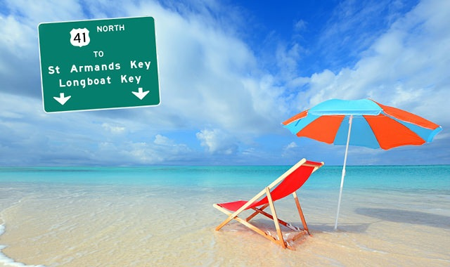 composite image of highway sign and chair and umbrella on white sand beach