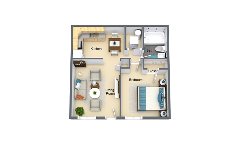 Morreene 1 bed 1 bath 569 sq. ft.