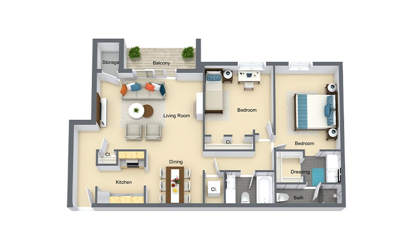 Myrtle 2 Bed 2 Bath 920 SF