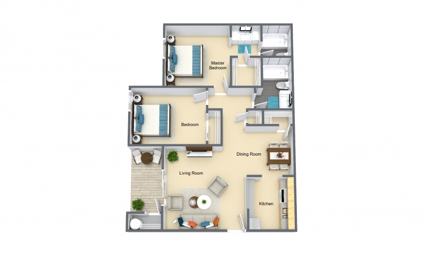 Oasis 2 Bed 2 Bath Floorplan