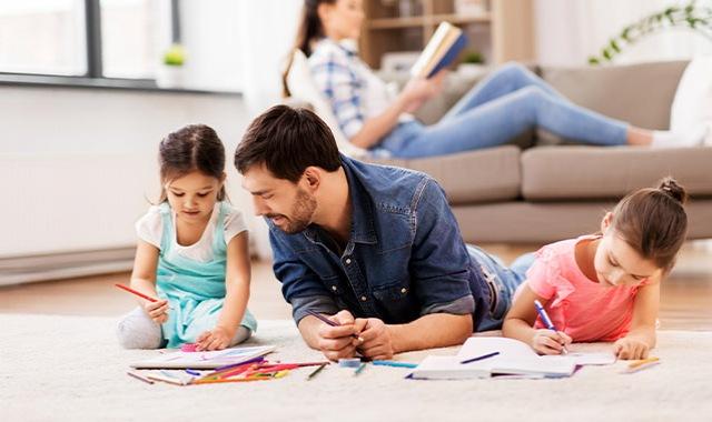 Family in a light-filled living room