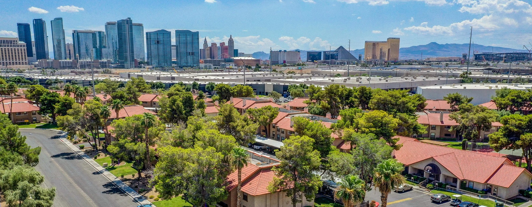 arial view of Rancho Del Sol and the Las Vegas skyline