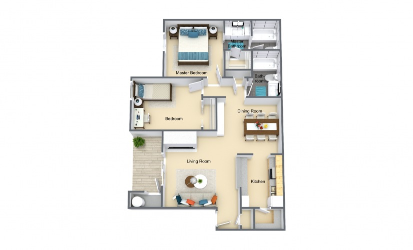 Sage 2 Bed 2 Bath Floorplan