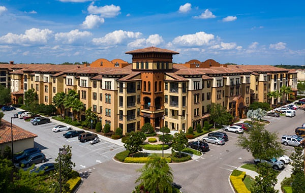 rendering of the courtney at bay pines building and parking lots