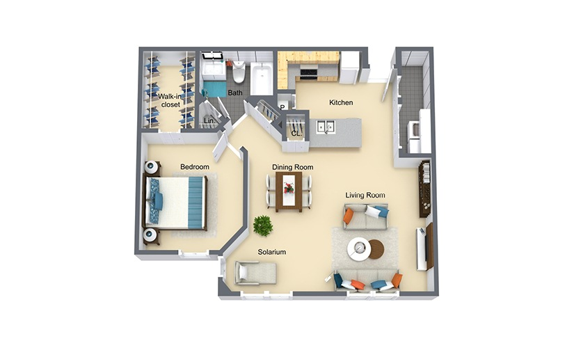 Westbrook Grand 1 bedroom 1 bath 814 square feet
