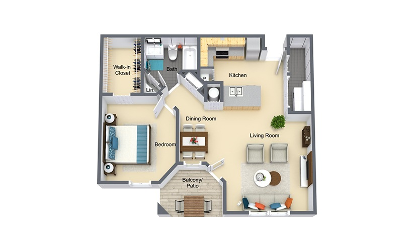 Westbrook 1 bedroom 1 bath 764 square feet