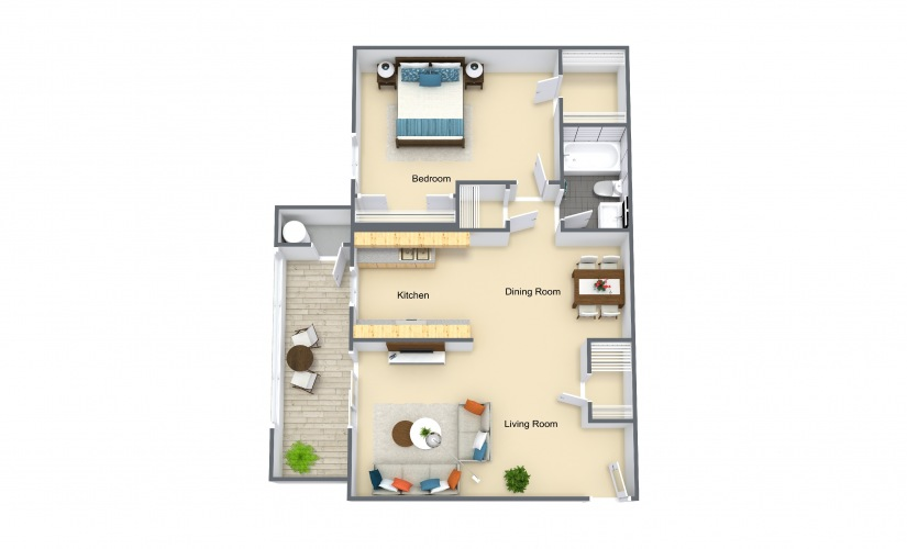 Willow 1 Bed 1 Bath Floorplan